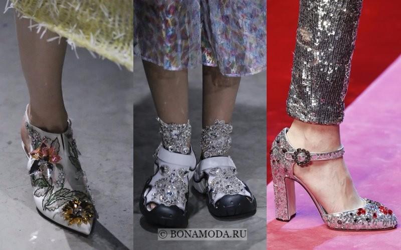 Модная женская обувь весна-лето 2018 - прозрачные стразы и цветные кристаллы