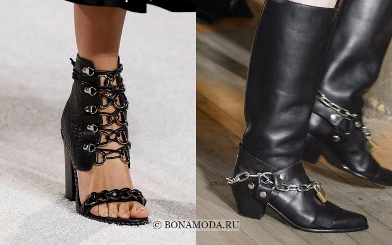 Модная женская обувь весна-лето 2018 - чёрные туфли и сапоги с цепями
