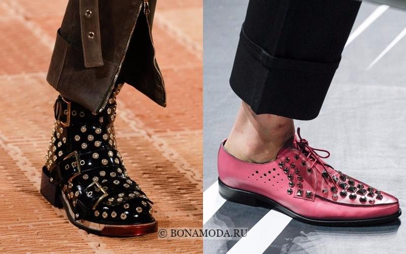 Модная женская обувь весна-лето 2018 - сапожки и ботинки с металлическими шипами и заклепками