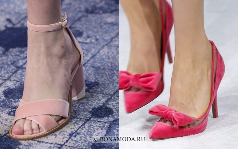 Модная женская обувь весна-лето 2018 - розовые бархатные туфли на каблуке