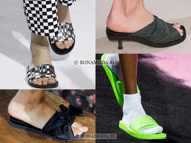 Модная женская обувь весна-лето 2018 - плоские повседневные шлепанцы
