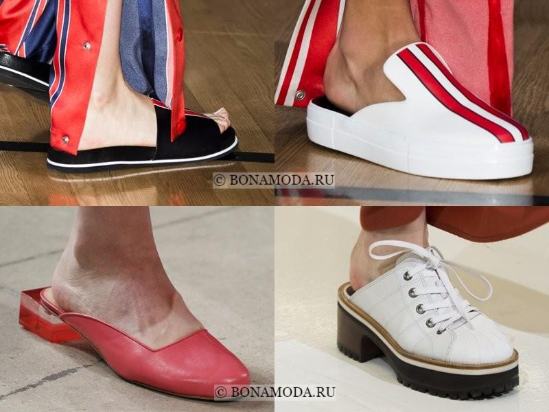 Модная женская обувь весна-лето 2018 - шлепанцы-мюли с открытой пяткой