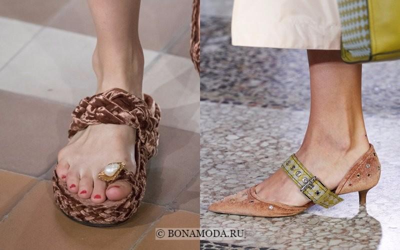 Модная женская обувь весна-лето 2018 - бежевые бархатные туфли