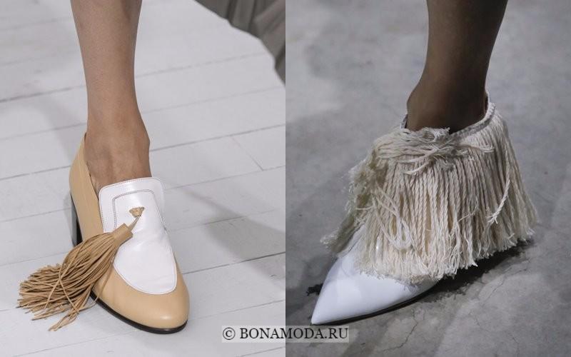 Модная женская обувь весна-лето 2018 - плоские туфли с бахромой и острым мыском
