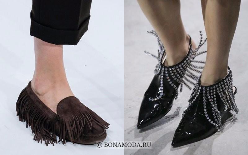 Модная женская обувь весна-лето 2018 - туфли на плоском ходу с бахромой