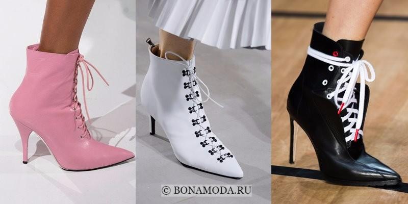 Модная женская обувь весна-лето 2018 - полусапожки на шнуровке с острым мыском и на шпильке