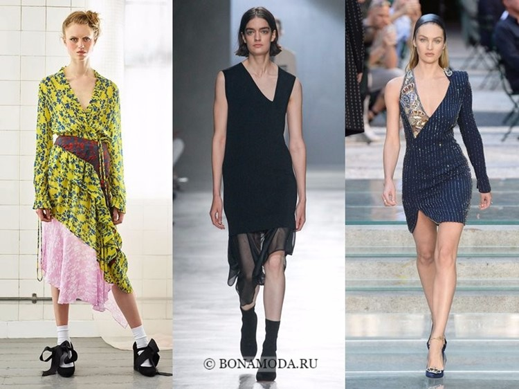 Модные платья весна-лето 2018: тенденции - асимметричный вырез лифа и юбка
