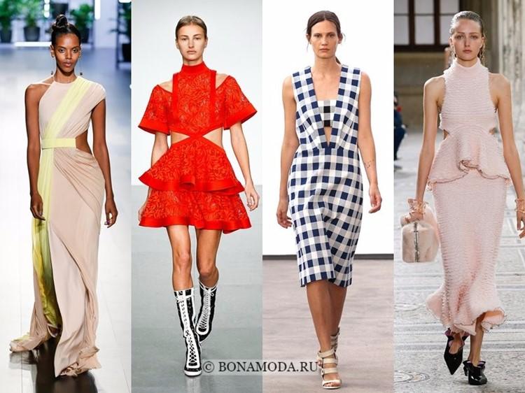 Модные платья весна-лето 2018: тенденции - вырезы на талии, короткие рукава