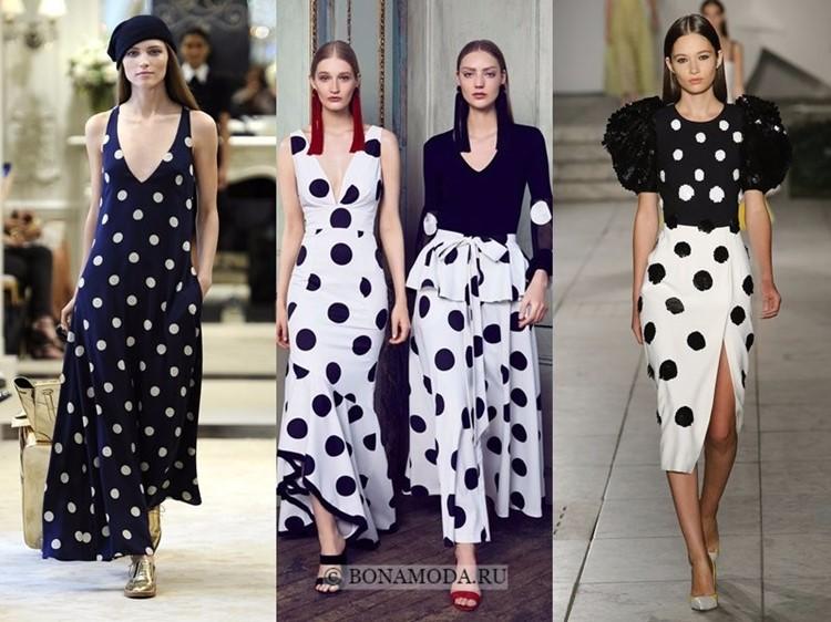 Модные платья весна-лето 2018: тенденции - черно-белые длинные в крупный горошек