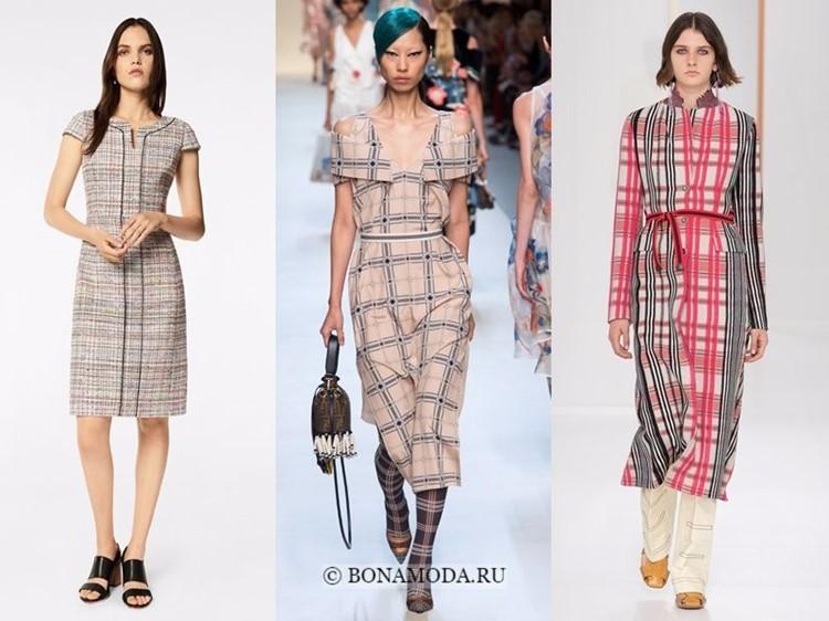 Модные платья весна-лето 2018: тенденции - бежево-розовая клетка и длина миди ниже колена