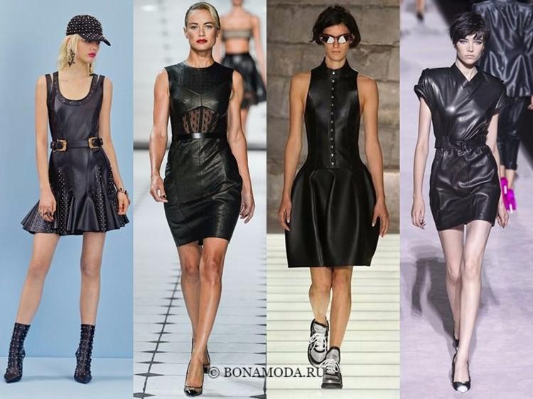 Модные платья весна-лето 2018: тенденции - чёрная эко-кожа и длина выше колена