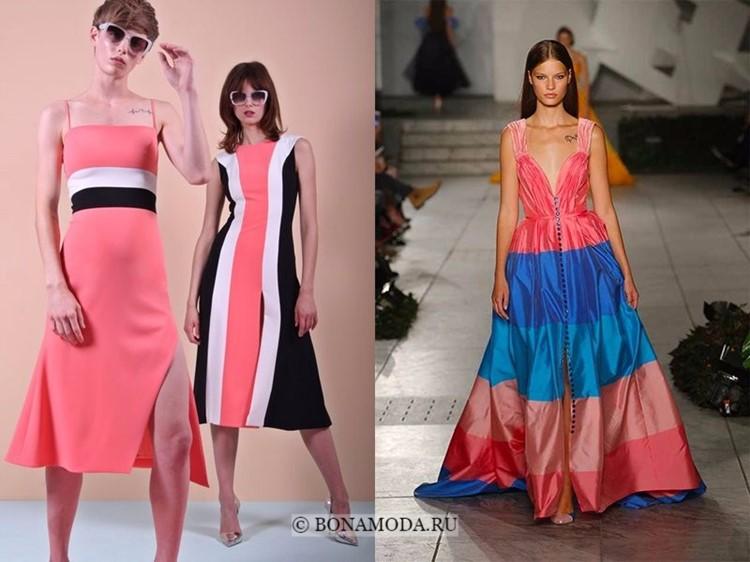 Модные платья весна-лето 2018: тенденции - яркие розово-коралловые с эффектом колор блок