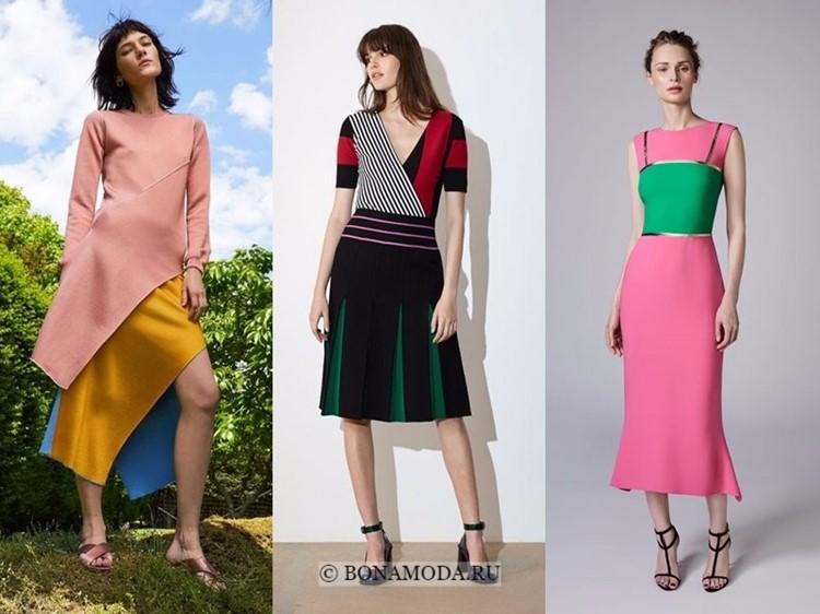 Модные платья весна-лето 2018: тенденции - яркие ниже колена с эффектом колор блок