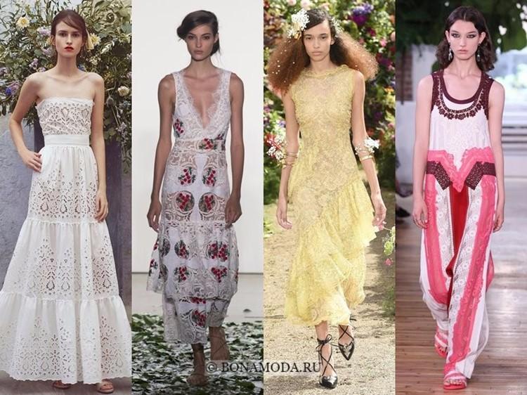 Модные платья весна-лето 2018: тенденции - длинные кружевные без рукавов