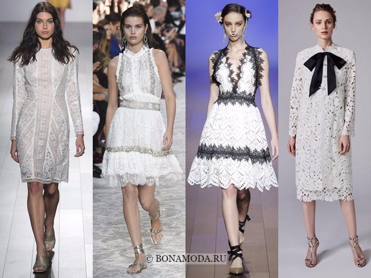 Модные платья весна-лето 2018: тенденции - серебристые и черно-белые кружевные