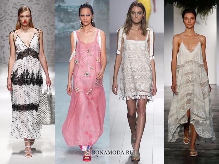 Модные платья весна-лето 2018: тенденции - открытые сарафаны на бретелях из шифона и кружева