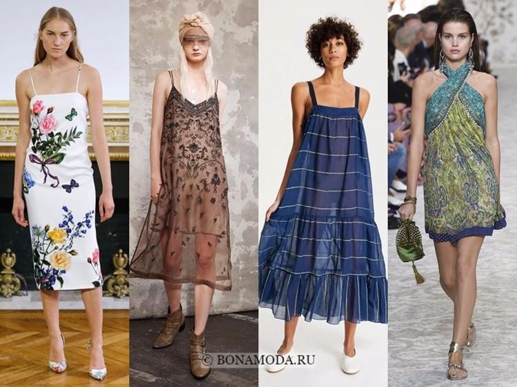 Модные платья весна-лето 2018: тенденции - летние сарафаны на бретелях с принтом