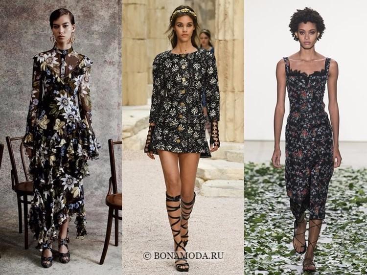 Модные платья весна-лето 2018: тенденции - тёмные с цветочным принтом