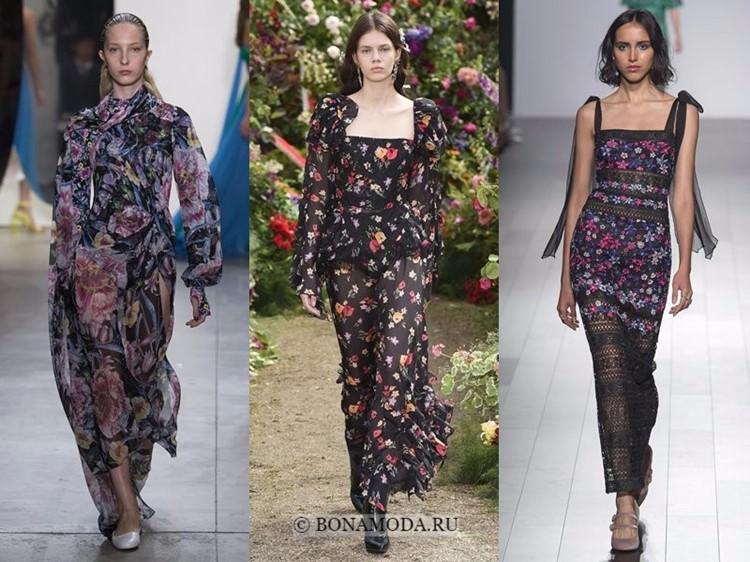 Модные платья весна-лето 2018: тенденции - чёрные с цветочным рисунком