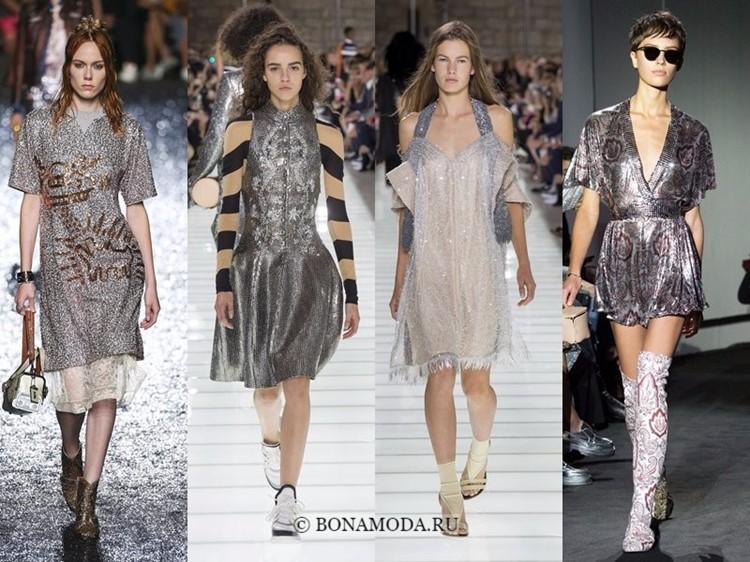 Модные платья весна-лето 2018: тенденции - серебристые коктейльные с пайетками