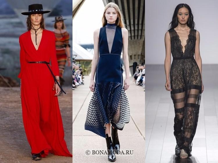 Модные платья весна-лето 2018: тенденции - глубокий V-образный вырез длинных вечерних платьев