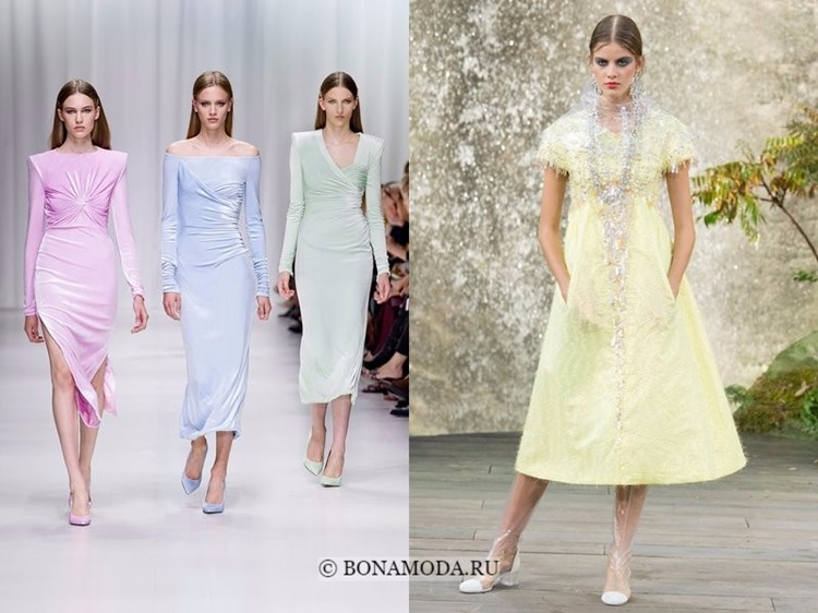Модные платья весна-лето 2018: тенденции - пастельные розовые, голубые, зеленые, желтые