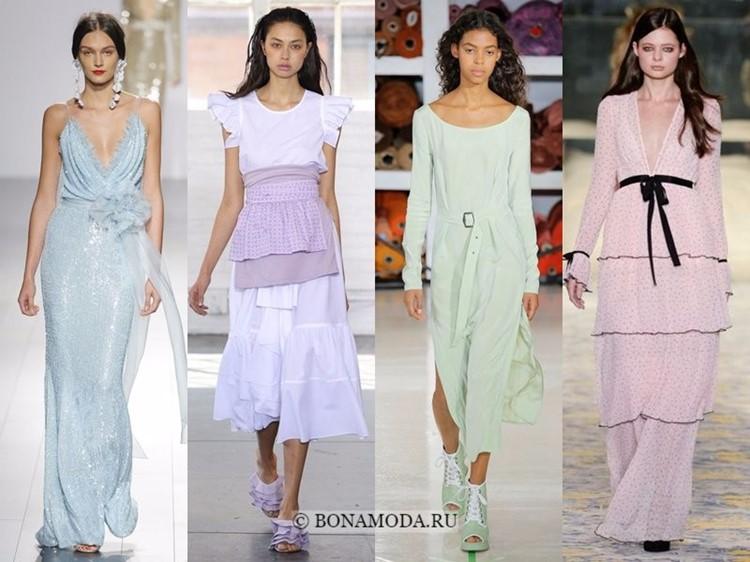 Модные платья весна-лето 2018: тенденции - длинные пастельные розовые, голубые, мятные, лиловые