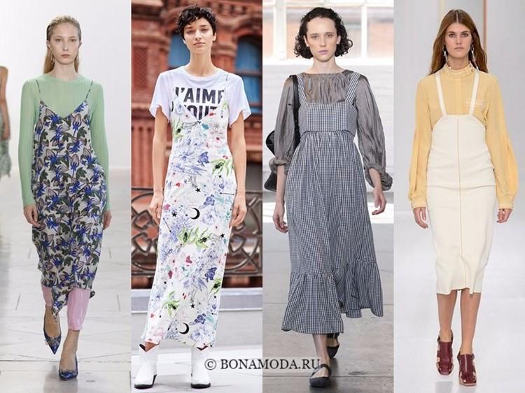5938bb77ee6 Модные платья весна-лето 2018  тенденции - повседневные сарафаны на топы и  блузки