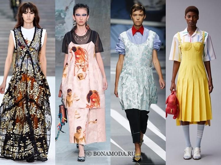 Модные платья весна-лето 2018: тенденции - сарафаны на рубашки и топы