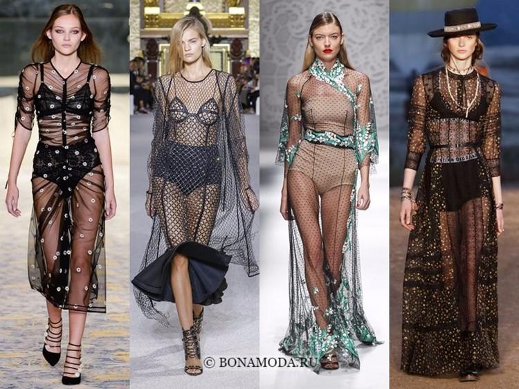 Модные платья весна-лето 2018: тенденции - длинные чёрные просвечивающиеся