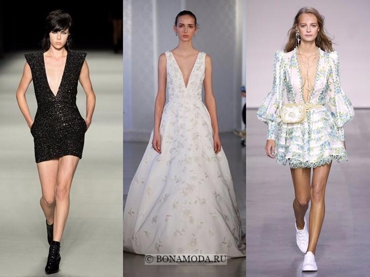 Модные платья весна-лето 2018: тенденции - глубокий V-образный вырез для коктейльного и вечернего стиля