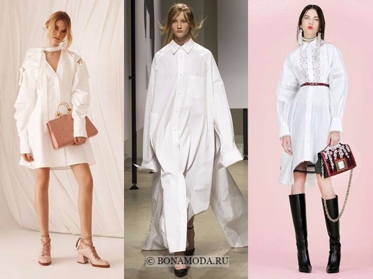 Модные платья весна-лето 2018: тенденции - белые платья-рубашки