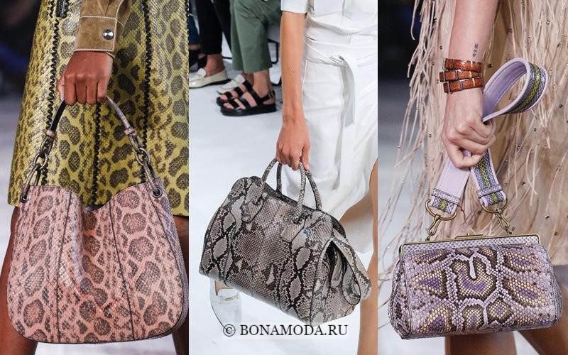 Модные женские сумки весна-лето 2018 - розовые, серые и сиреневые со змеиным принтом