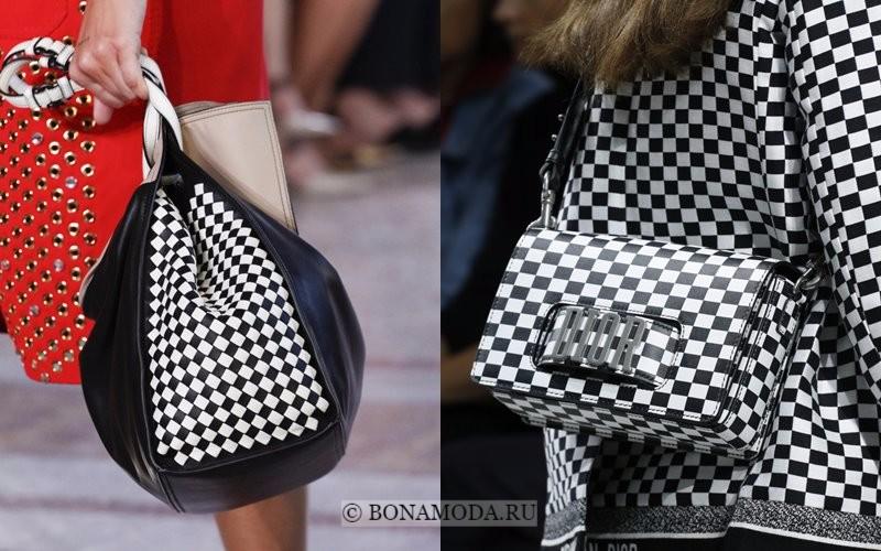 Модные женские сумки весна-лето 2018 - чёрно-белые в шахматную клетку