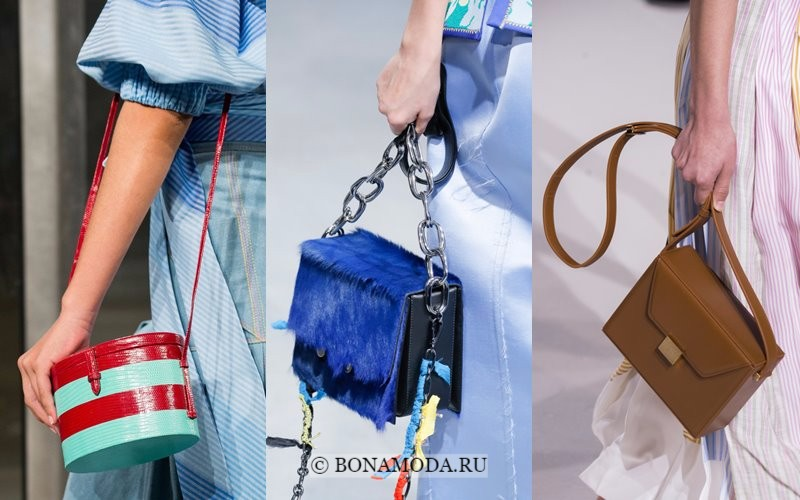 Модные женские сумки весна-лето 2018 - жесткие коробки на длинной ручке