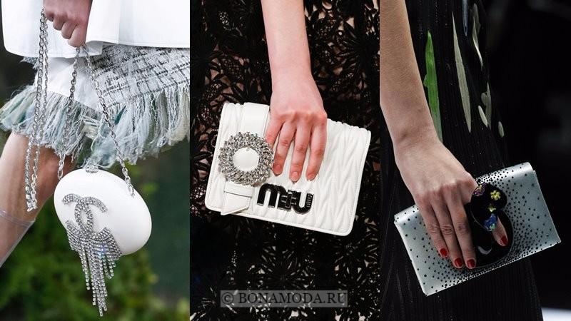 Модные женские сумки весна-лето 2018 - вечерние белые и серые с прозрачными стразами и кристаллами