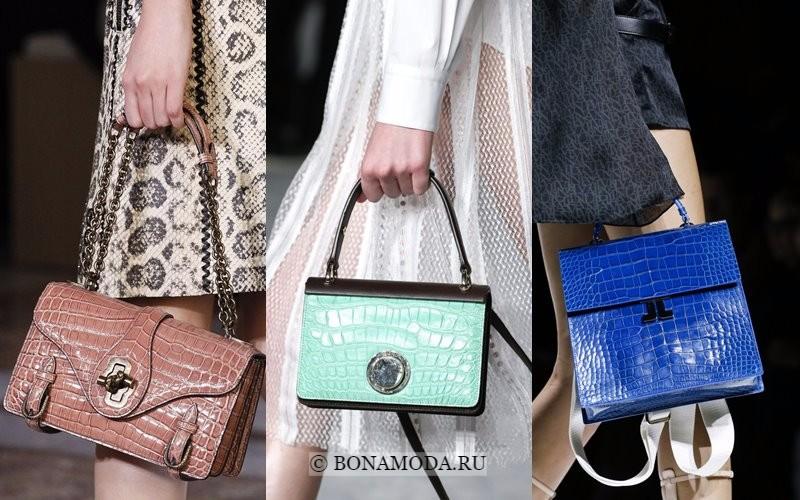 Модные женские сумки весна-лето 2018 - крокодиловый принт - бежевая, мятно-зеленая и синяя
