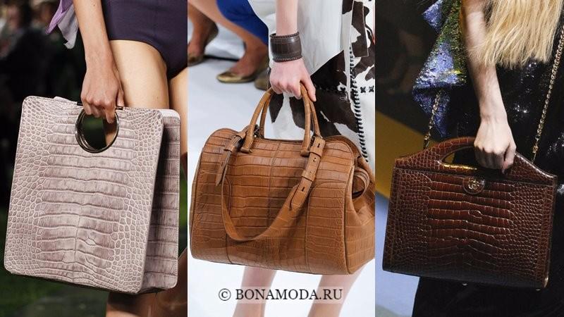 Модные женские сумки весна-лето 2018 - бежевые и коричневые из крокодиловой кожи