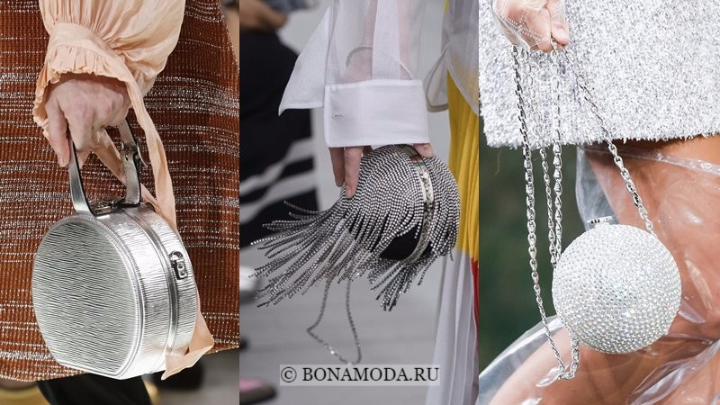 Модные женские сумки весна-лето 2018 - вечерние серебристые круглые