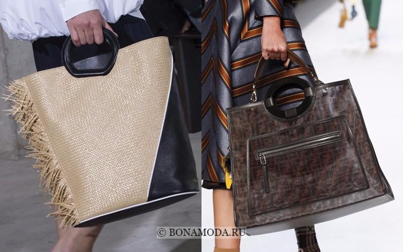 Модные женские сумки весна-лето 2018 - вертикальные шоппер с жёсткой ручкой