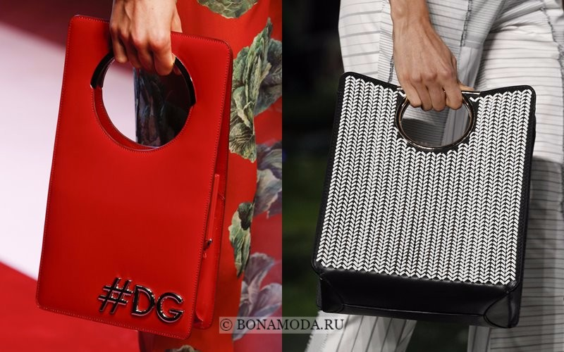 Модные женские сумки весна-лето 2018 - красная и серая шоппер с круглой жесткой ручкой