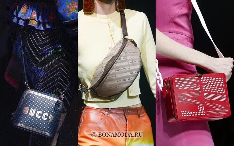 Модные женские сумки весна-лето 2018 - через плечо с названием бренда