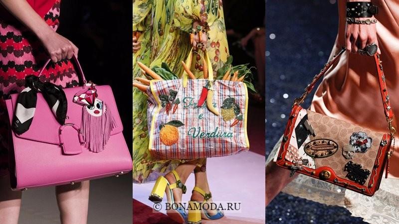 Модные женские сумки весна-лето 2018 - наклейки патчи