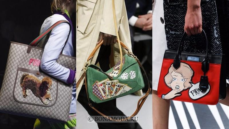 Модные женские сумки весна-лето 2018 - крупные патчи на сумках