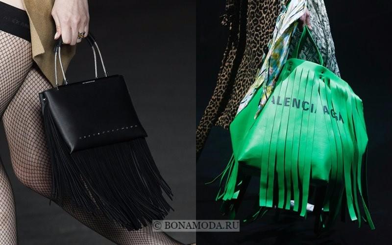 Модные женские сумки весна-лето 2018 - чёрная и зелёная с длинной бахромой
