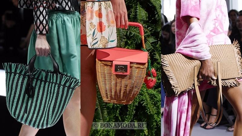 Модные женские сумки весна-лето 2018 - плетёные сумки, корзинки и пляжные модели