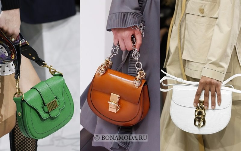 Модные женские сумки весна-лето 2018 - зеленая, бежевая и белая сумка-седло