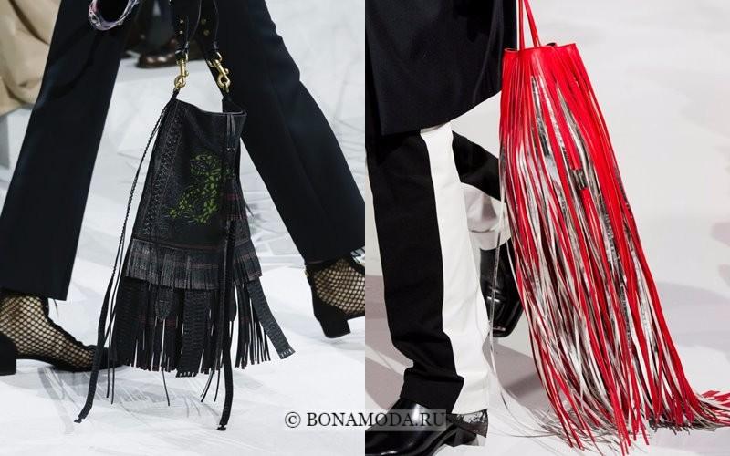Модные женские сумки весна-лето 2018 - чёрная и красная с длинной бахромой