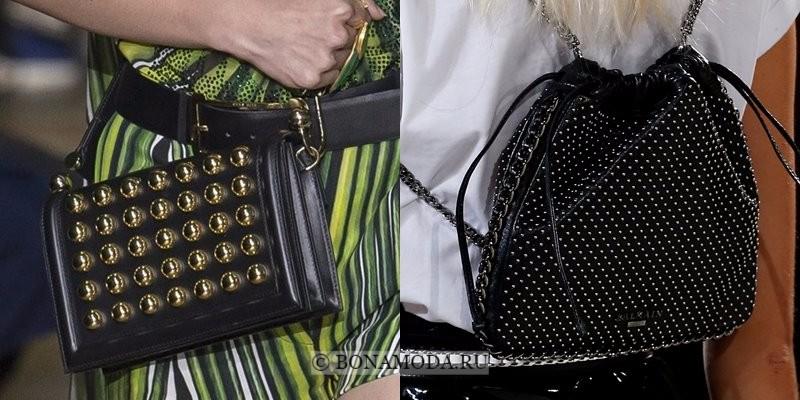 Модные женские сумки весна-лето 2018 - чёрные с шипами