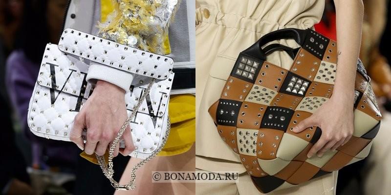 Модные женские сумки весна-лето 2018 - белая и бежевая с шипами и гвоздиками
